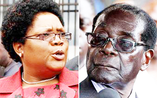 Joice Mujuru and Robert Mugabe