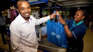 Kenyan man with cloth bag